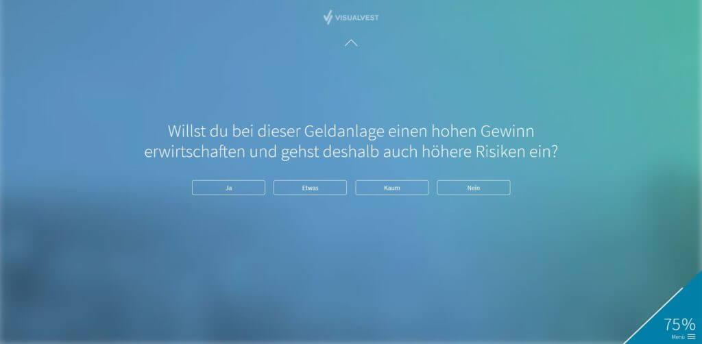 Schritt 10: Eine weitere Abfrage zu deine Risikotoleranz (Kontrollfrage) | Bildquelle: Screenshot von VisualVest
