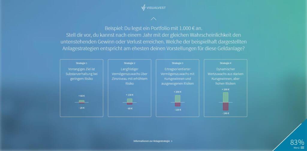 Schritt 11: Noch eine Eine Abfrage zu deine Risikotoleranz (Kontrollfrage 2) | Bildquelle: Screenshot von VisualVest