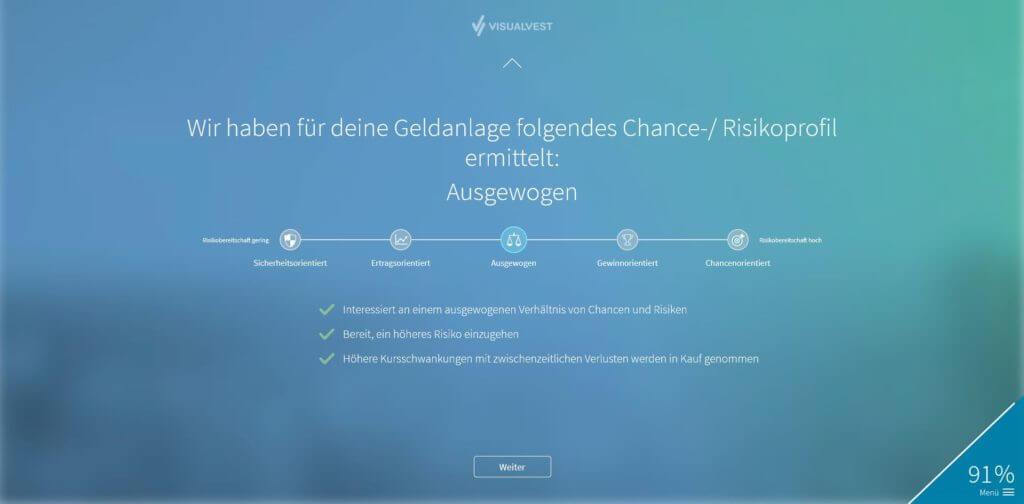 Schritt 12: Ergebnis der Analyse. Du kannst das Ergebnis annehmen oder eine andere Risikoklasse wählen. | Bildquelle: Screenshot von VisualVest