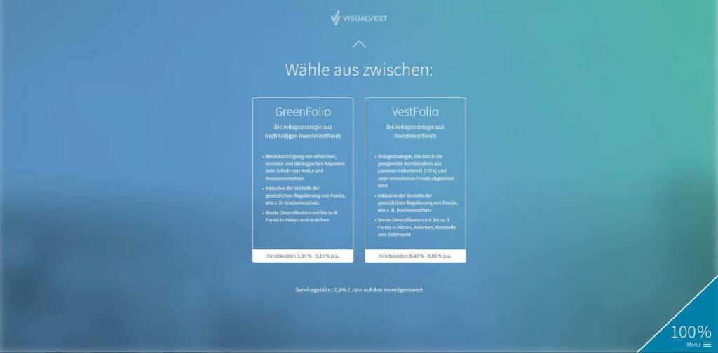 Schritt 13: Wähle aus zwischen GreenFolio oder VestFolio | Bildquelle: Screenshot von VisualVest