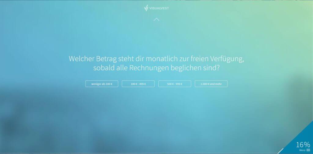 Schritt 3: Auswahl monatlich verfügbarer Betrag | Bildquelle: Screenshot von VisualVest