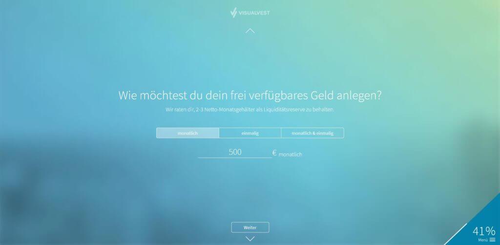 Schritt 4: Eingabe der Sparrate | Bildquelle: Screenshot von VisualVest