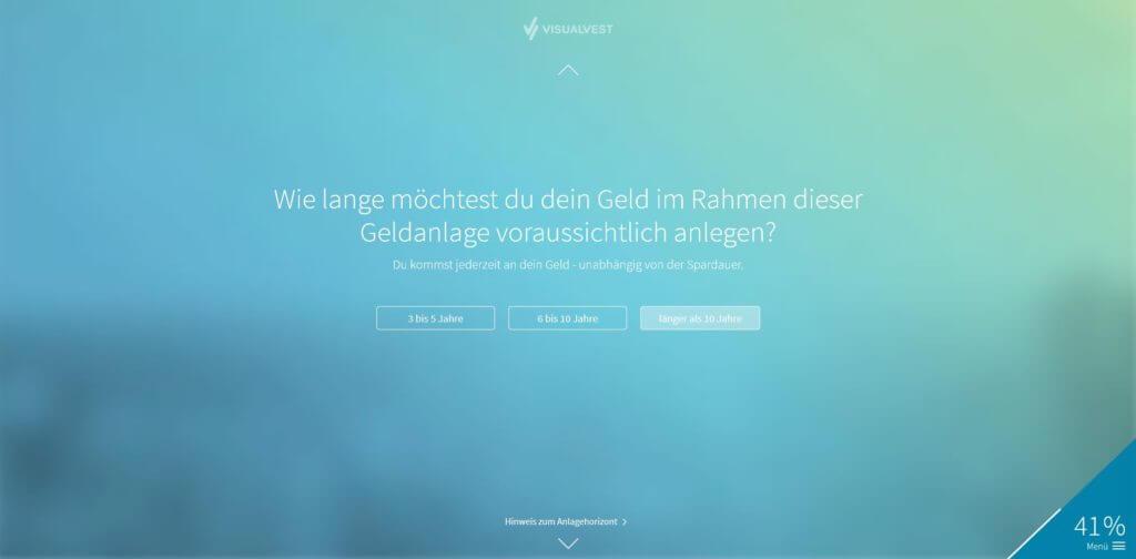 Schritt 5: Eingabe Anlagehorizont | Bildquelle: Screenshot von VisualVest