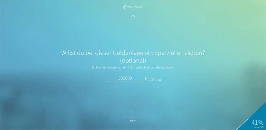 (Optional) Schritt 6: Eingabe Sparziel| Bildquelle: Screenshot von VisualVest