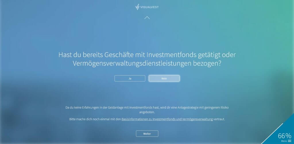 Schritt 8: Erfahrung mit Investmentfonds | Bildquelle: Screenshot von VisualVest