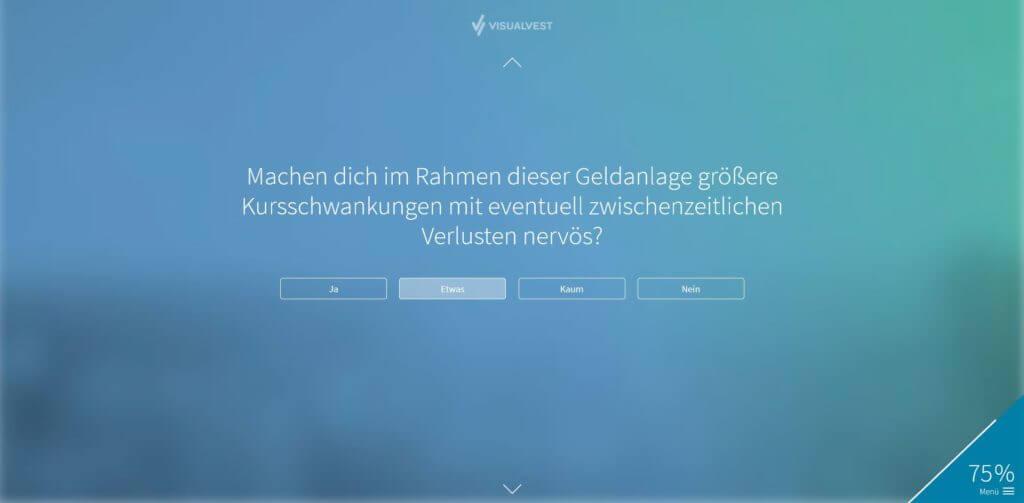 Schritt 9: Abfrage zu deine Risikotoleranz | Bildquelle: Screenshot von VisualVest