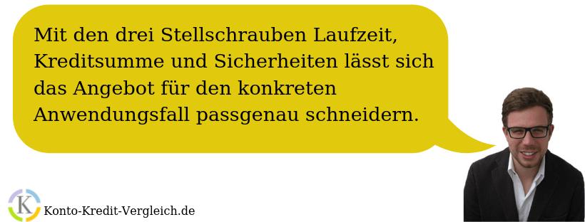 """Sascha von Konto-Kredit-Vergleich.de: """"Mit den drei Stellschrauben Laufzeit, Kreditsumme und Sicherheiten lässt sich das Angebot für den konkreten Anwendungsfall passgenau schneidern."""""""