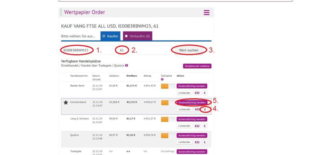Aktien kaufen Schritt für Schritt onvista: Schritt 4: Aktie suchen, Kosten prüfen und Order aufgeben