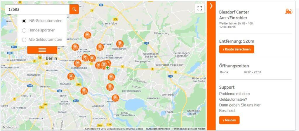 ING Geld einzahlen: Einzahlautomat im Biesdorf Center in Berlin. Bildquelle: Screenshot ING Geldautomatensuche