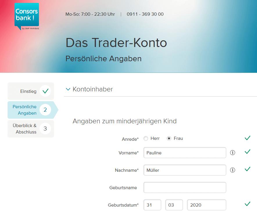 Consorsbank Junior-Depot für Kind eröffnen:  Antrag zum Trader Konto für Minderjährige mit persönlichen Angaben Ausfüllen.