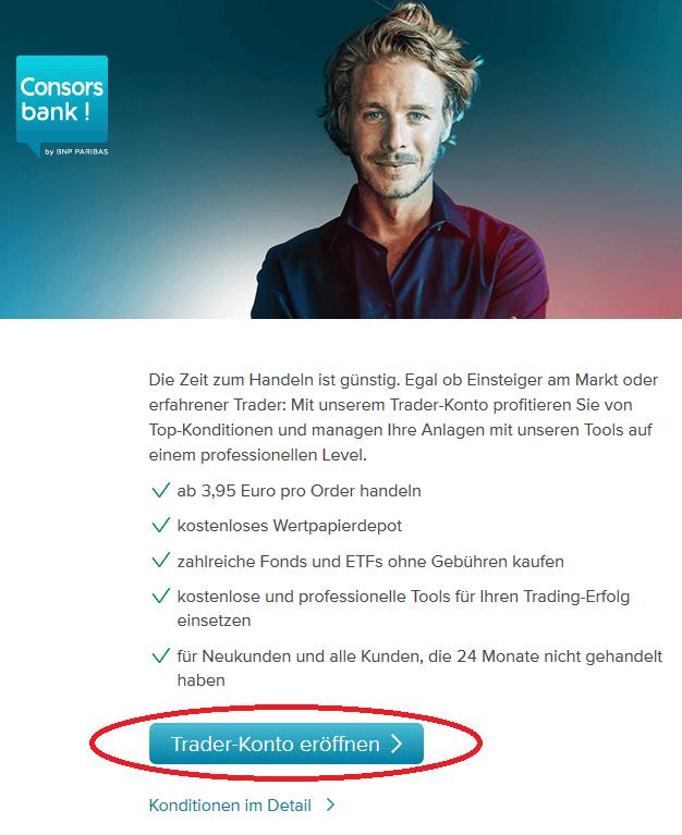 Consorsbank Junior Depot für Kind eröffnen: Zur Eröffnung klickst du zunächst auf Trader Konto eröffnen.