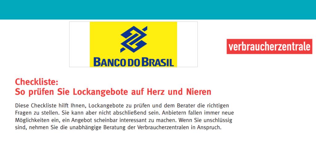 Tagesgeld Vergleich - Test der Verbraucherzentrale von Banco do Brasil