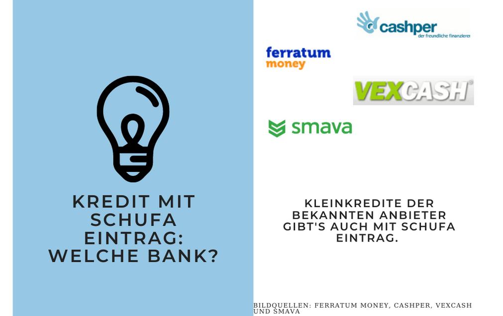 Kredit mit SCHUFA Eintrag: Welche Bank? Kleinkredite der Bekannten Anbieter gibt's auch mit SCHUFA Eintrag.