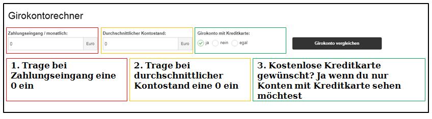 Wie du durch die Filter im Girokontorechner ein kostenloses Girokonto ohne Mindesteingang findest