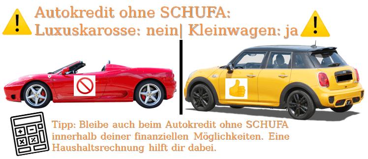 Welches Auto kaufen mit negativer SCHUFA? Autokredit ohne SCHUFA Luxuskarosse nein Kleinwagen ja