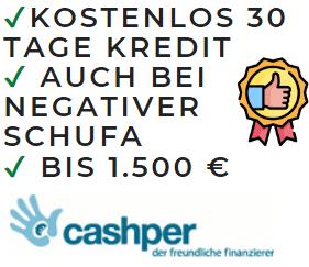 Cashper ist meine Empfehlung für eine Bank die einen Kredit trotz negativer SCHUFA vergibt.