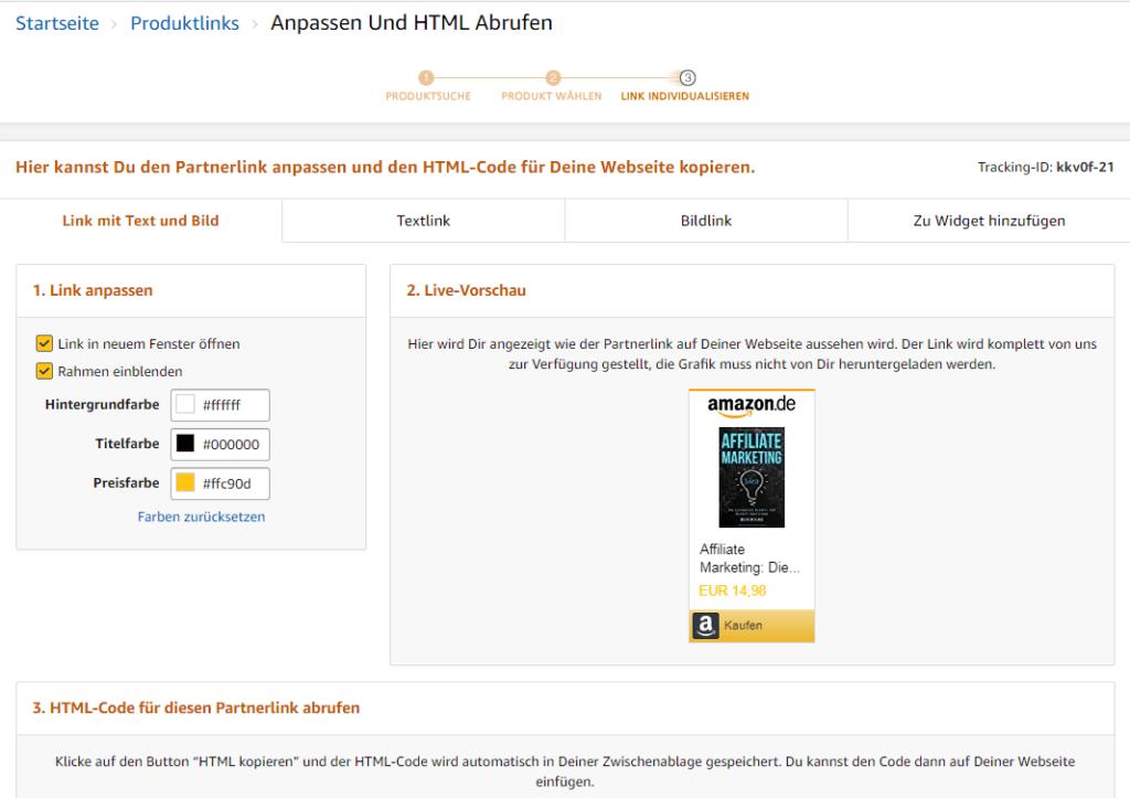 Geld verdienen mit einem Affiliate Projekt: Amazon Partnernetzwerk. Link individualisieren.