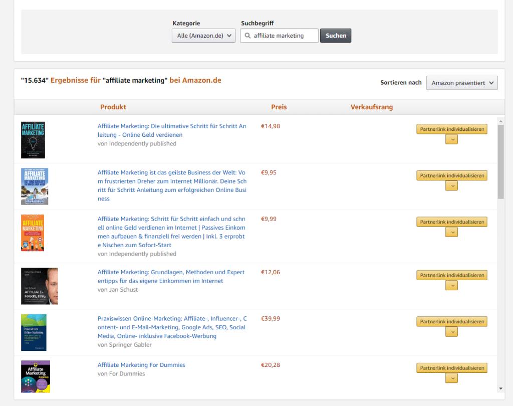 Geld verdienen mit einem Affiliate Projekt: Amazon Partnernetzwerk